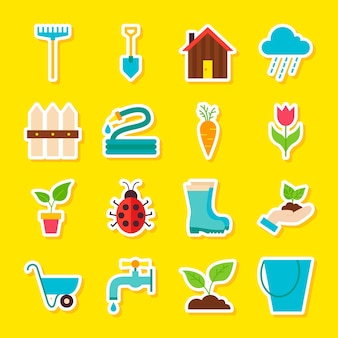 Lente tuinieren stickers. vector illustratie vlakke stijl. verzameling van seizoensgebonden natuursymbolen.