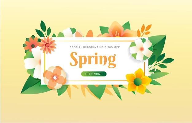 Lente typografie met bloemenemmer