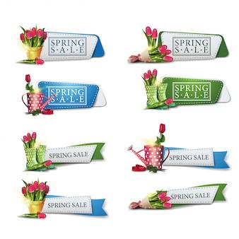 Lente uitverkoop, grote collectie voorjaarskorting banners in de vorm van linten
