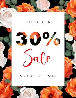 Lente verkoop achtergrond banners met roze bloemen