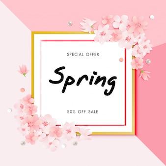 Lente verkoop achtergrond met kersenbloesem bloem vector