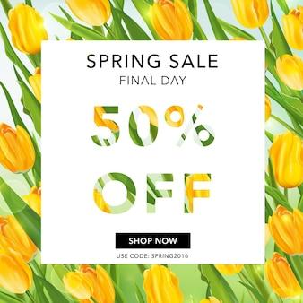 Lente verkoop banner. bloemen sale tag