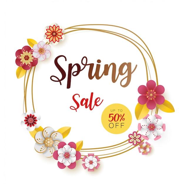 Lente verkoop banner. met blad en kleurrijk bloemenontwerp.