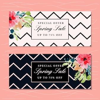 Lente verkoop banner met bloemen aquarel en chevron patroon