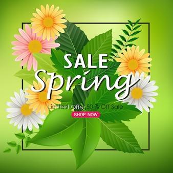 Lente verkoop banner met prachtige bloemen en groene bladeren