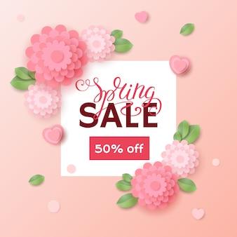 Lente verkoop banner met typografische kalligrafische letters tekst met kleurrijke papieren bloemen. uitverkoop 50% korting op de achtergrond.