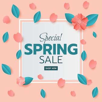 Lente verkoop banner ontwerp bladeren en bloem.