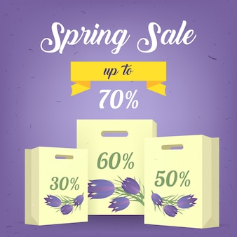 Lente verkoop banner poster tag ontwerp met kleurrijke bloemen, kalligrafische tekst, lint en boodschappentassen. lente sjabloon voor uw ontwerp, kaarten, uitnodigingen, posters. vector illustratie.