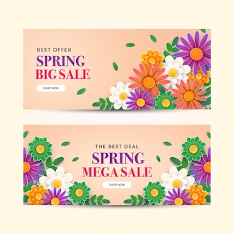 Lente verkoop banners in plat ontwerp