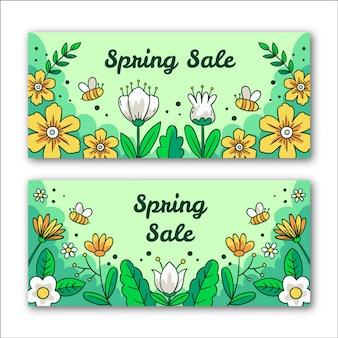 Lente verkoop banners met bloemen en bijen