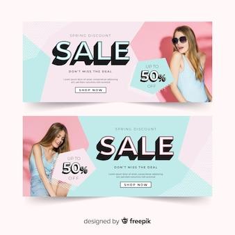 Lente verkoop banners met foto