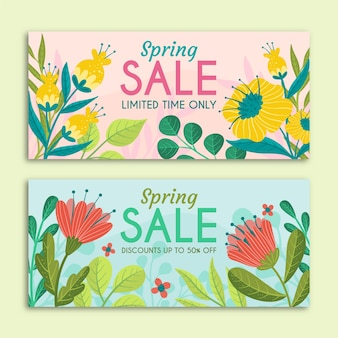 Lente verkoop banners met hand getrokken bloemen