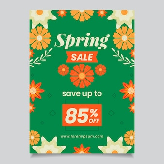Lente verkoop besparingen folder platte ontwerpsjabloon