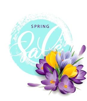 Lente verkoop concept. lente achtergrond met bloeiende krokussen. sjabloon vector. eps 10