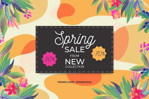 Lente verkoop en bloemen frame