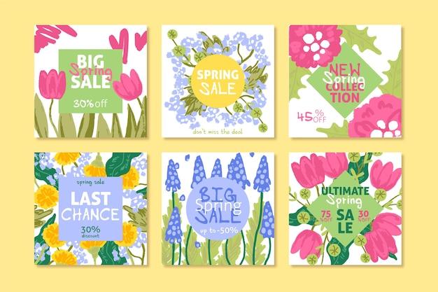 Lente verkoop instagram post collectie met veelkleurige assortiment bloemen
