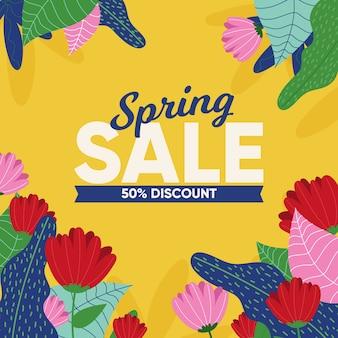 Lente verkoop met bladeren en bloemen