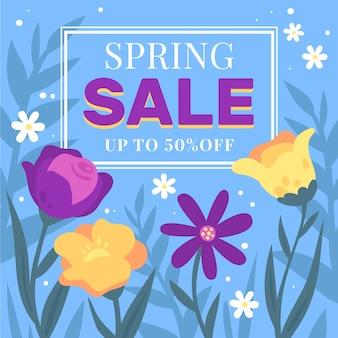 Lente verkoop met bloemen