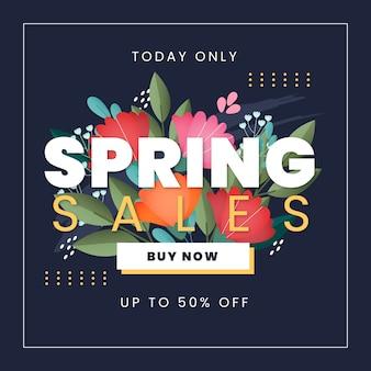 Lente verkoop met boeket bloemen en bladeren