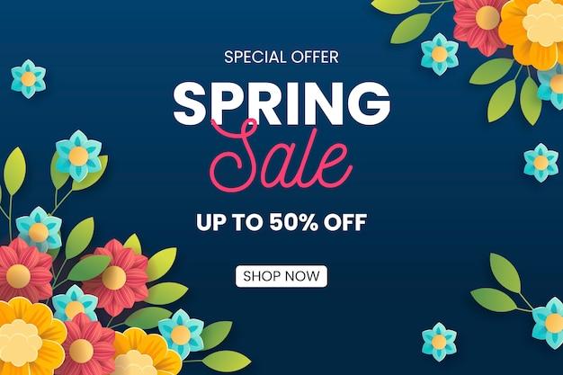 Lente verkoop met kleurrijke bloemen