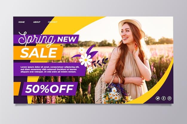 Lente verkoop met vrouw