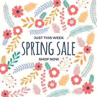 Lente verkoop ontwerp met kleurrijke bloemen