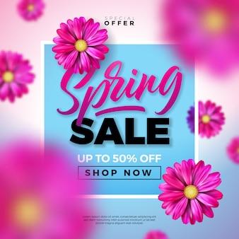 Lente verkoop ontwerpsjabloon met kleurrijke bloemen en typografie brief op blauwe achtergrond.