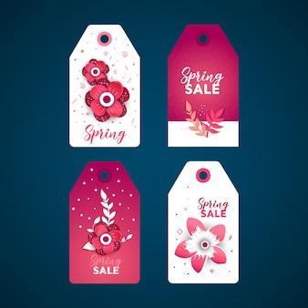 Lente verkoop papier gesneden flora label sticker set.