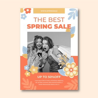 Lente verkoop poster sjabloon met foto