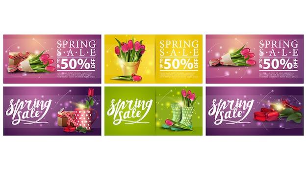 Lente verkoop, set lente korting horizontale banners met boeketten van bloemen.