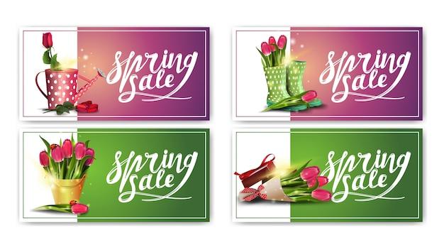 Lente verkoop, set van lente horizontale korting banners met bloemen