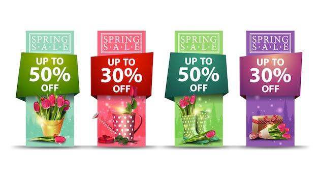 Lente verkoop, set van lente verticale korting banners