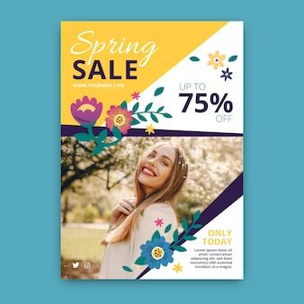 Lente verkoop sjabloon folder met foto