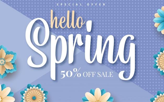 Lente verkoop sjabloon folder met papier snijbloemen en bladeren met frame