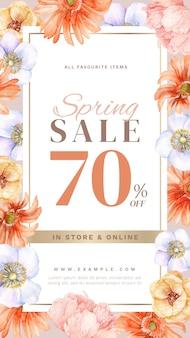 Lente verkoop verhaal met handgetekende florale decoratie
