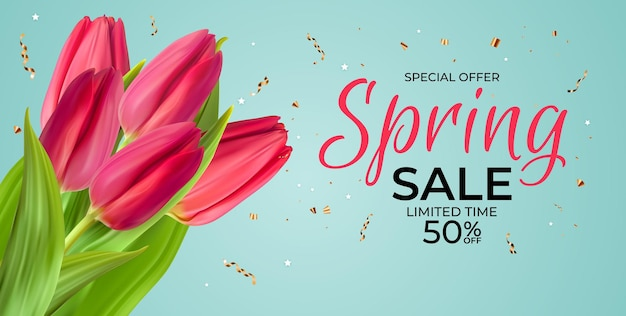 Lente verkoopsjabloon met realistische roze tulp bloem met confetti.