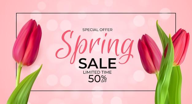 Lente verkoopsjabloon met realistische tulpenbloem, frame en verlichting.