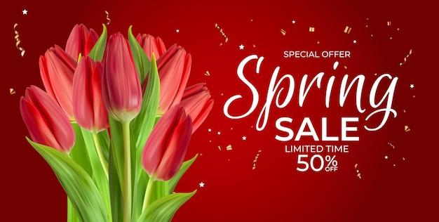 Lente verkoopsjabloon met realistische tulpenbloem.