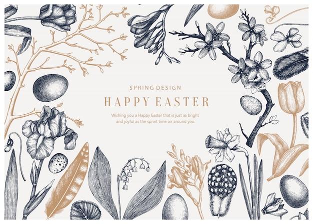 Lente vintage. pasen achtergrond met bloeiende bloemen, vogelveren, eieren en florale decoraties. lente gekleurde illustratie. paaskaart, uitnodiging of sjabloon voor spandoek.