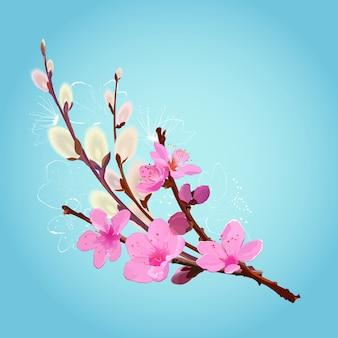Lenteboeket met roze kersenbloemen en donzige wilgentakken op blauw