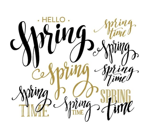 Lentetijd, hallo lente belettering set. illustratie