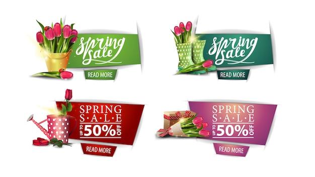 Lenteverkoop, een collectie lentekortingsbanners met boeketten van bloemen en knopen in papierstijl.