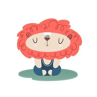 Leo doet yoga en meditatie. vector illustratie met textuur