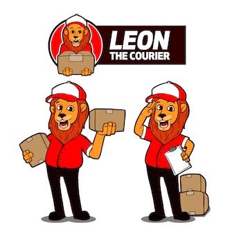 Leon de koerier mascot logo