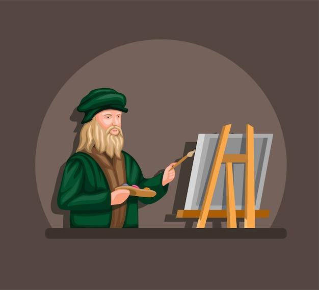 Leonardo davinci tekenen en schilderen op canvas concept in cartoon