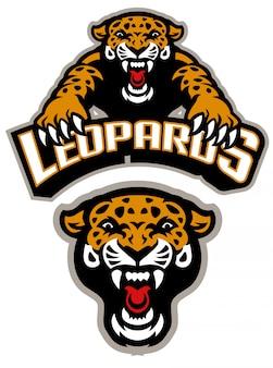 Leopard mascotte set