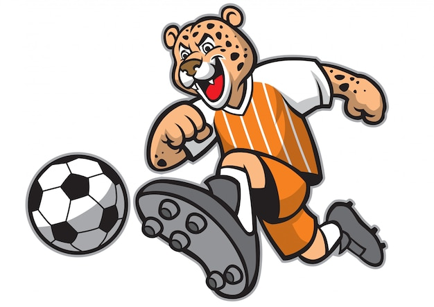 Leopard voetbal mascotte