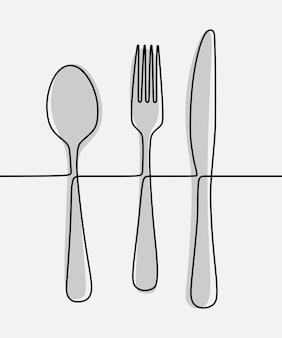 Lepel, vork, mes eet oneline doorlopende lijntekeningen