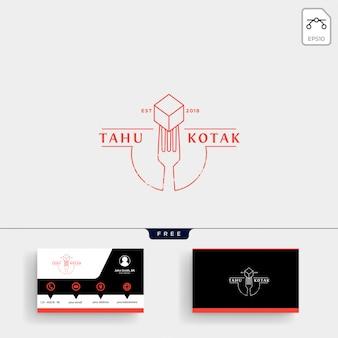 Lepel, vork restaurant logo sjabloon en visitekaartje