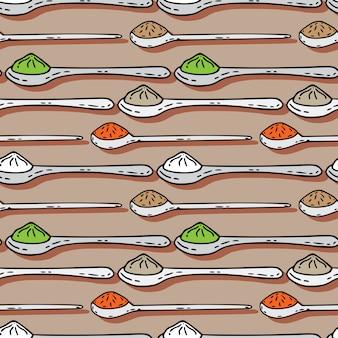 Lepels met kleurrijk kruiden naadloos patroon